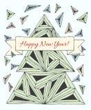 Gemachte eigenhändig gezeichnete Dreiecke der Weihnachtskarte vektor abbildung