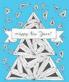 Gemachte eigenhändig gezeichnete Dreiecke der Weihnachtskarte Stockfotos