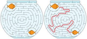 Gemakkelijk fishbowllabyrint royalty-vrije illustratie