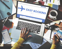 Gemakkelijk het Boeken het Toerismeconcept van de Vakantievlucht stock afbeeldingen