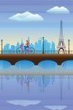 Het cirkelen van de dame in Parijs stock illustratie
