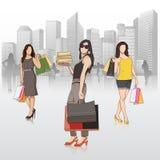 Dame die in opslag winkelen royalty-vrije illustratie