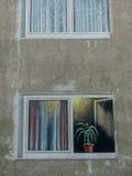 Gemalener balcony on a house wall Stock Photos