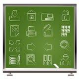 Gemalt mit Kreide Internet-und site-Ikonen Lizenzfreies Stockfoto