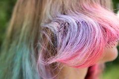 Gemalt mit verschiedenen Farben des Haares und des Kammes stockfotos
