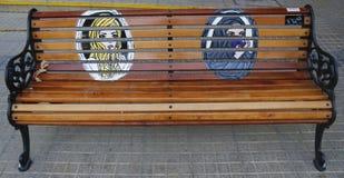 Gemalte Bänke von Santiago in Las Condes, Santiago de Chile Lizenzfreie Stockfotos