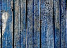 Gemalte blaue alte veraltete hölzerne Planken Stockbilder