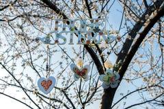 Gemalte Buchstaben fröhliche Ostern auf Deutsch auf blühendem Baum Dekor für Haus und Garten Stockfotografie