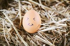 Gemalte Eier über Gefühl auf dem Gesicht Lizenzfreie Stockfotos