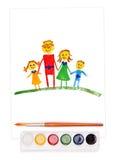 Gemalte Familie, Aquarellset und Pinsel Stockbilder