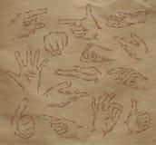 Gemalte Hände Kraftpapier Stockfotografie