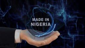 Gemalte Hand zeigt das Konzepthologramm, das in Nigeria seine Hand gemacht wird lizenzfreie stockbilder