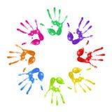 Gemalte handprints Stockbilder
