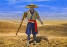 Gemalte Illustration des klugen alten traditionellen asiatischen Mannes, der durch Wüste geht stockfotos
