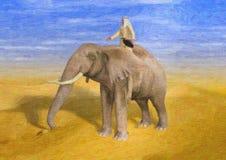 Gemalte Illustration des Wüsten-Abenteurer-Reitelefanten stockbilder