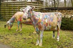 Gemalte Kühe Lizenzfreies Stockfoto