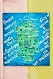 Gemalte Karte, Sardinien, Italien Lizenzfreies Stockfoto