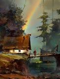 Gemalte Landschaft mit Regenbogen und Haus Vektor Abbildung