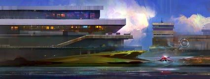 Gemalte Landschaftsraumstation und ein fantastisches Schiff Vektor Abbildung