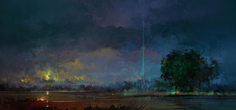 Gemalte Nachtlandschaft lizenzfreie abbildung