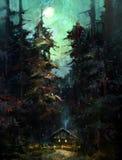 Gemalte Nachtlandschaft mit Haus und Mond lizenzfreie abbildung