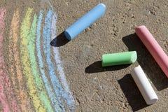 Gemalte Regenbogen farbige Kreide Stockbild