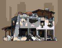 Gemalte Ruinen des Ziegelstein rehabilitierten Gebäudes vektor abbildung