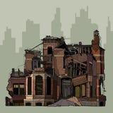 Gemalte Ruinen einer zweistöckigen Ziegelsteinvilla stock abbildung