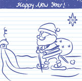Gemalte Santa Claus-Illustration für das neue Jahr - Skizze auf Schulnotizbuch Lizenzfreies Stockbild