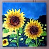 Gemalte Sonnenblumen-Fliese Stockfotografie