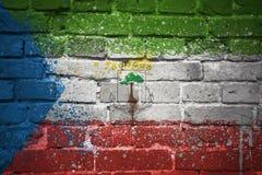 Gemalte Staatsflagge der Äquatorialguinea auf einer Backsteinmauer Lizenzfreies Stockbild