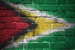 Gemalte Staatsflagge von Guyana auf einer Backsteinmauer Stockbild