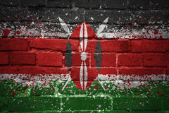 Gemalte Staatsflagge von Kenia auf einer Backsteinmauer Stockfotografie