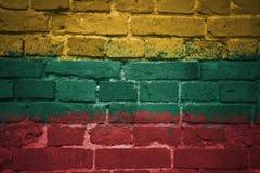 Gemalte Staatsflagge von Litauen auf einer Backsteinmauer Lizenzfreie Stockfotografie