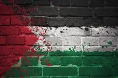 Gemalte Staatsflagge von Palästina auf einer Backsteinmauer Lizenzfreies Stockfoto