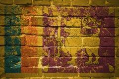 Gemalte Staatsflagge von Sri Lanka auf einer Backsteinmauer Stockbilder