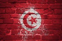 Gemalte Staatsflagge von Tunesien auf einer Backsteinmauer Lizenzfreie Stockbilder