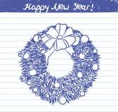 Gemalte Weihnachtskranzillustration für die Skizze des neuen Jahres auf Schulnotizbuch Lizenzfreie Stockfotos