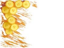 Gemalter Bananenrahmen lokalisiert auf weißem Hintergrund Lizenzfreies Stockbild