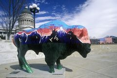 Gemalter Bison, Gemeinschaftskunstprojekt, Winter Olympics, Zustandskapitol, Salt Lake City, UT Lizenzfreie Stockbilder