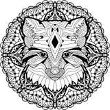 Gemalter Fox auf einem Hintergrund des Kreismusters Farbtonseite Stockbild