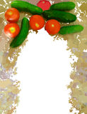 Gemalter Gemüserahmen lokalisiert auf Weiß Stockfotografie