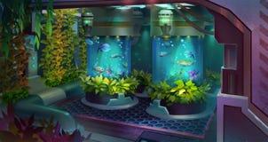 Gemalter Raum mit Anlagen auf einem Raumschiff Lizenzfreie Abbildung