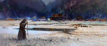 Gemalter Reisendmönch im Hintergrund von einer Berglandschaft mit einem Dorf Vektor Abbildung