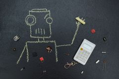 Gemalter Roboter mit elektrischen Teilen und Taschenrechner vektor abbildung