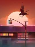 Gemalter Sonnenuntergang in der Stadt mit Raben Vektor Abbildung