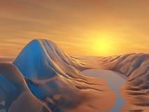 Gemalter Tal-Sonnenaufgang Stockfoto