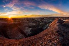 Gemalter Wüsten-Sonnenuntergang Stockfotografie