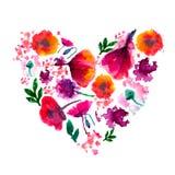 Gemaltes Aquarell-Blumen-Herz Gemaltes Herz Aquarell-Herz gemacht von den Blumen Perfektes Valentinsgruß-Tagesherz Stockbilder