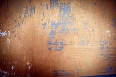 Gemaltes blaues Metall mit Elementen des Rosts Stockfotos